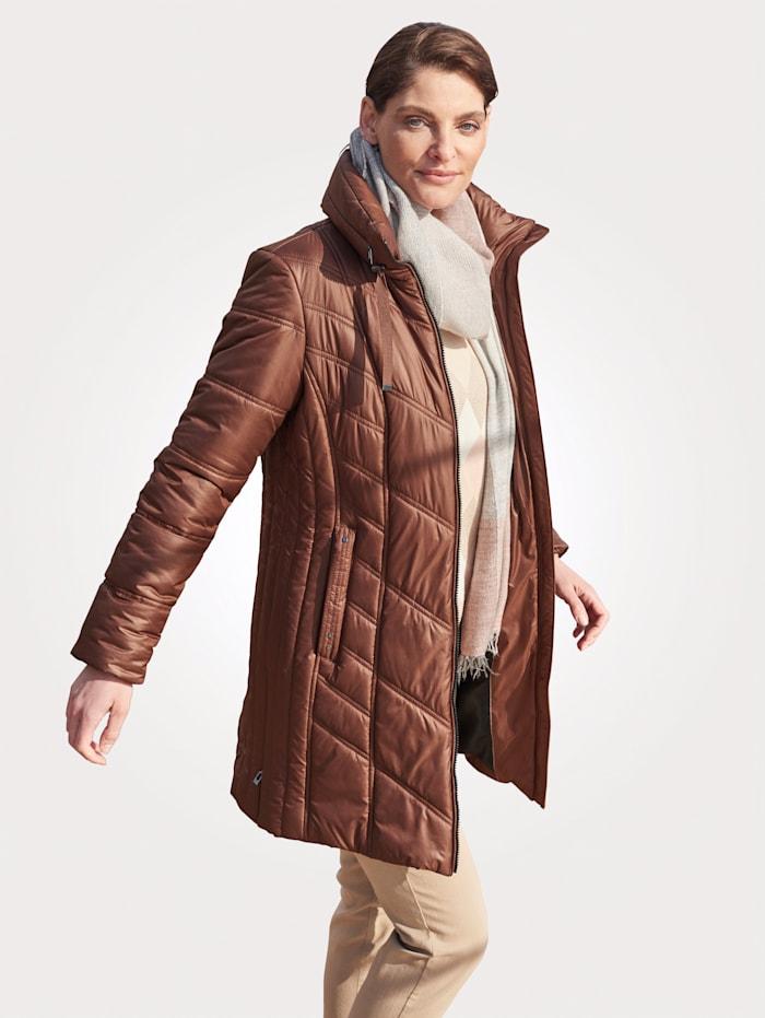 MONA Gewatteerde jas met platte kraag, Hazelnoot