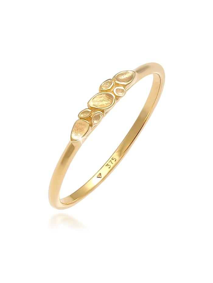 Elli Premium Ring Organic Natural Struktur 375 Gelbgold, Gold