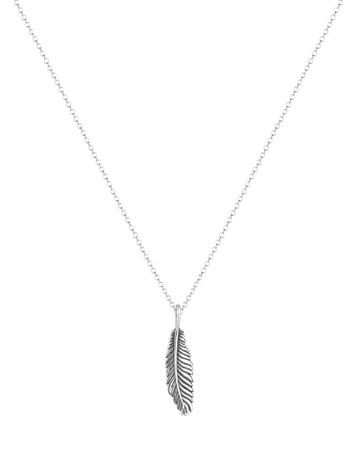 Halskette Herren Basic Casual Feder Anhänger 925 Silber