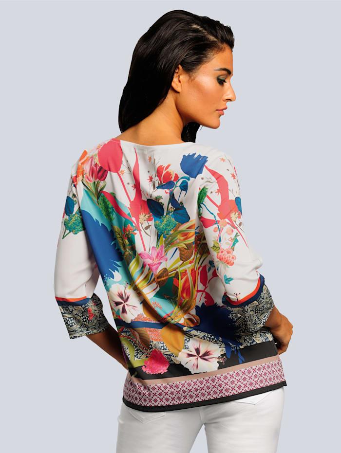 Bluse in ausdrucksstarkem Printmix