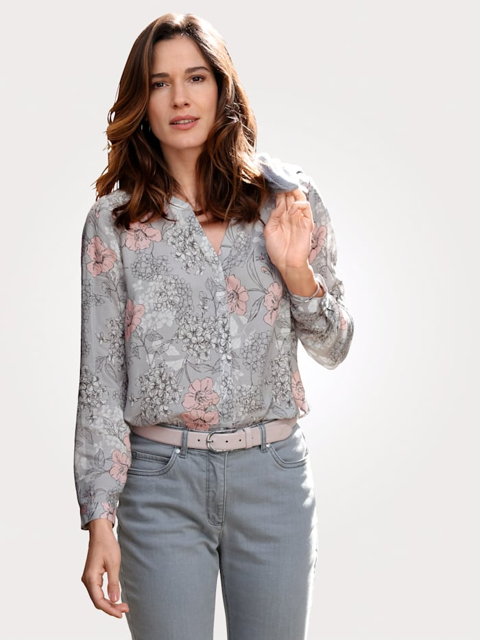 MONA Blouse with a floral print, Grey/Rosé/Anthracite