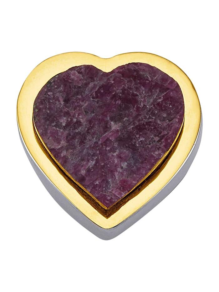 Amara Atelier Pendentif Cœur 1 rubis brut, Rouge