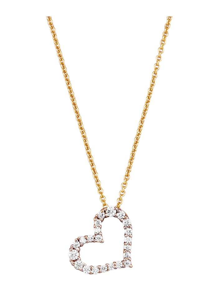 Pendentif cœur avec chaîne avec brillants, Coloris or jaune