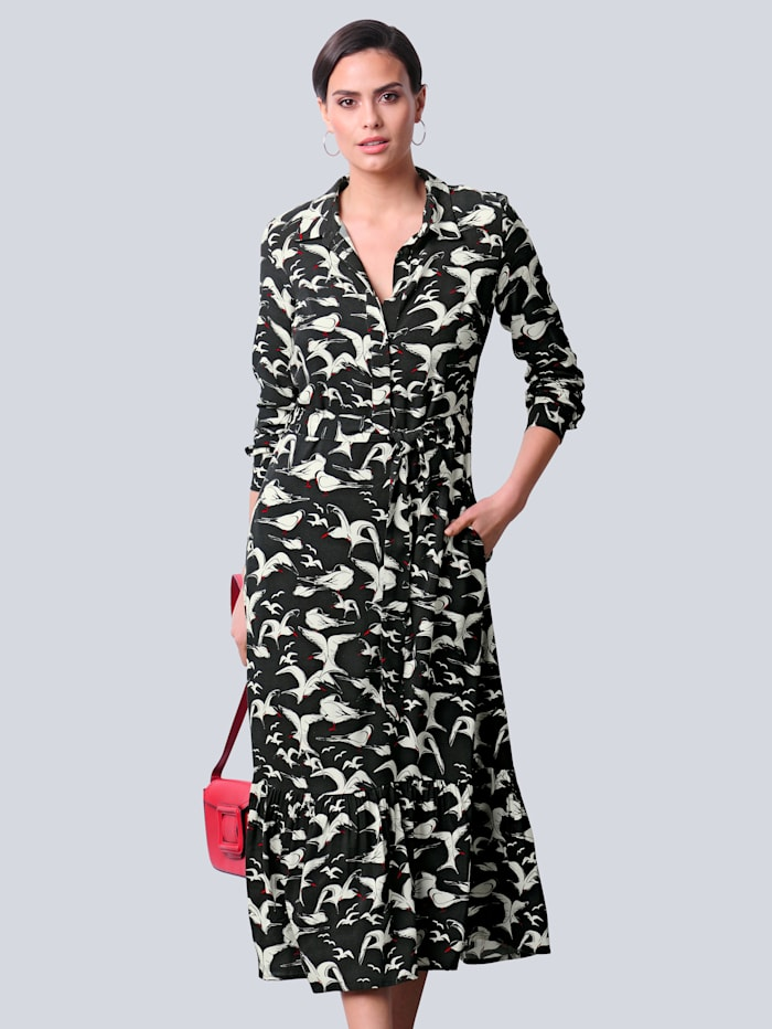 Alba Moda Kleid im exklusiven Vogeldruck-Dessin von Alba Moda, Schwarz/Off-white/Rot