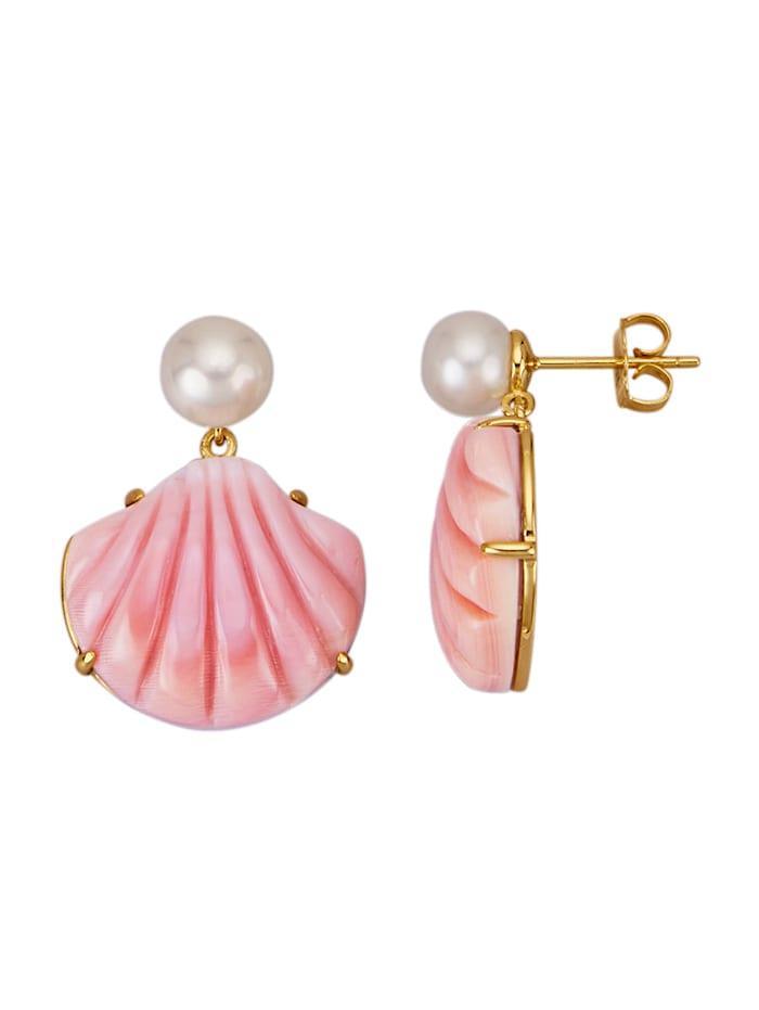 Amara Perles Boucles d'oreilles avec perles de coloris rose et blanc, Rose