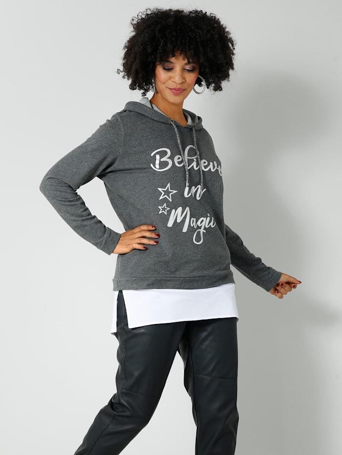 Angel of Style Sweatshirt in 2-in-1 Optik, Grau