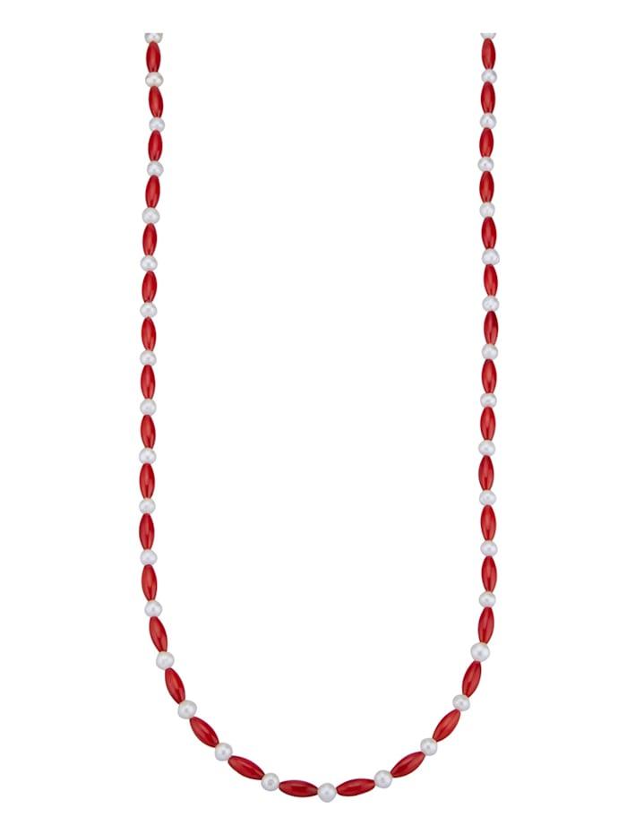 Amara Pierres colorées Collier en corail de bambou avec perles de culture d'eau douce, Rouge