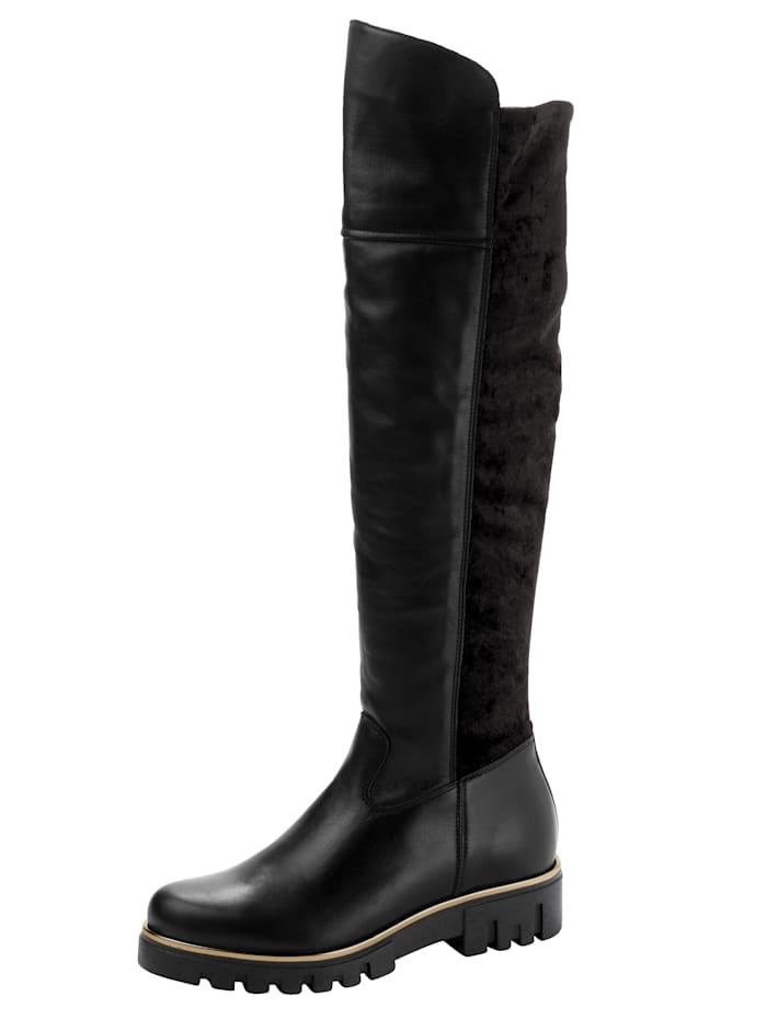 FIOCCO Overknee støvletter med stretch i skaftet, Svart
