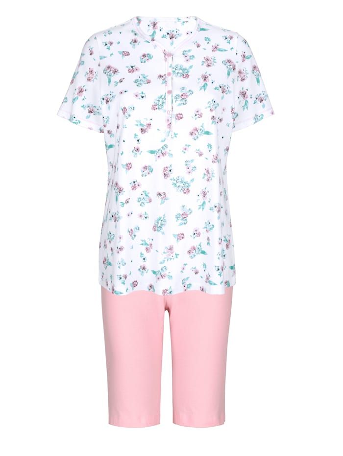 Harmony Pyjamas med snygga sömmar, Vit/Gammalrosa/Jade