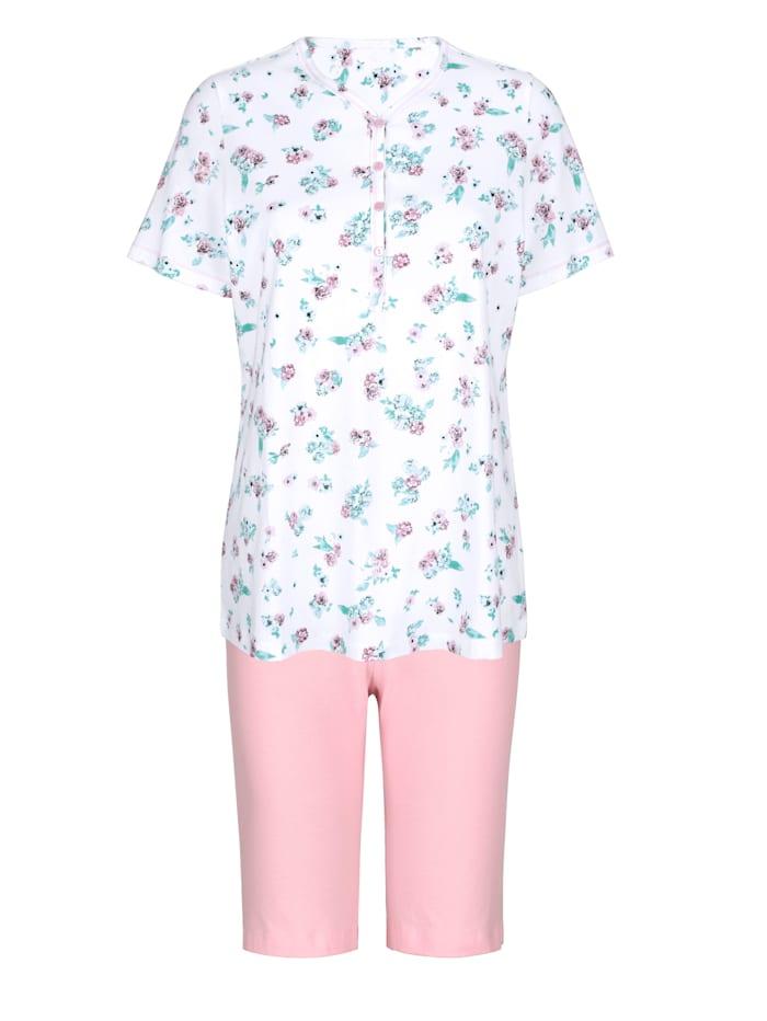 Harmony Pyjashort avec coutures métallisées, Blanc/Vieux rose/Jade