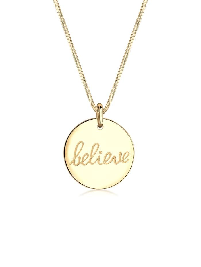 Elli Halskette Believe-Schriftzug Statement 925 Sterling Silber, Gold