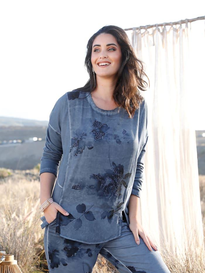 MIAMODA Sweatshirt mit praktischen Schlitzen, Jeansblau