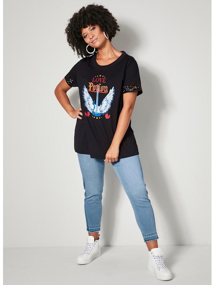 T-shirt avec paillettes au bas des manches