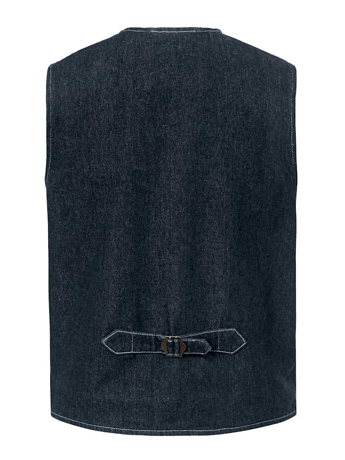 Jeansgilet met pochet die naar buiten getrokken kan worden