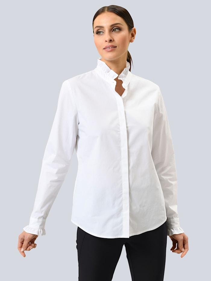 Alba Moda Bluse mit Rüschenkragen, Weiß