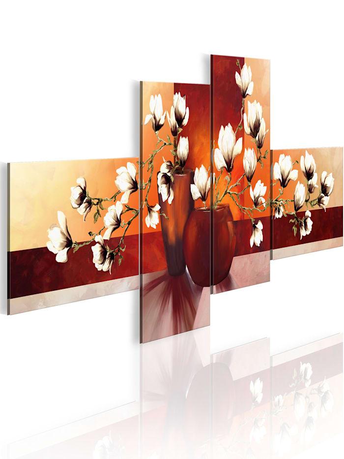 artgeist Wandbild Magnolien - Impressionen, Weiß,Creme,Braun,Orange