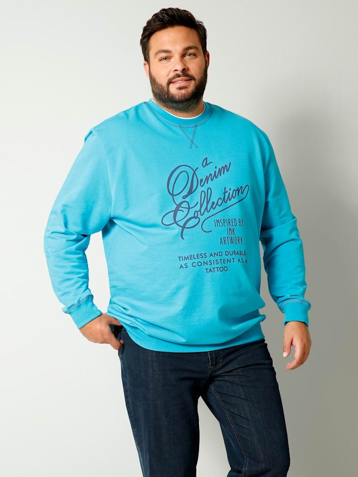 Men Plus Sweatshirt aus reiner Baumwolle, Türkis