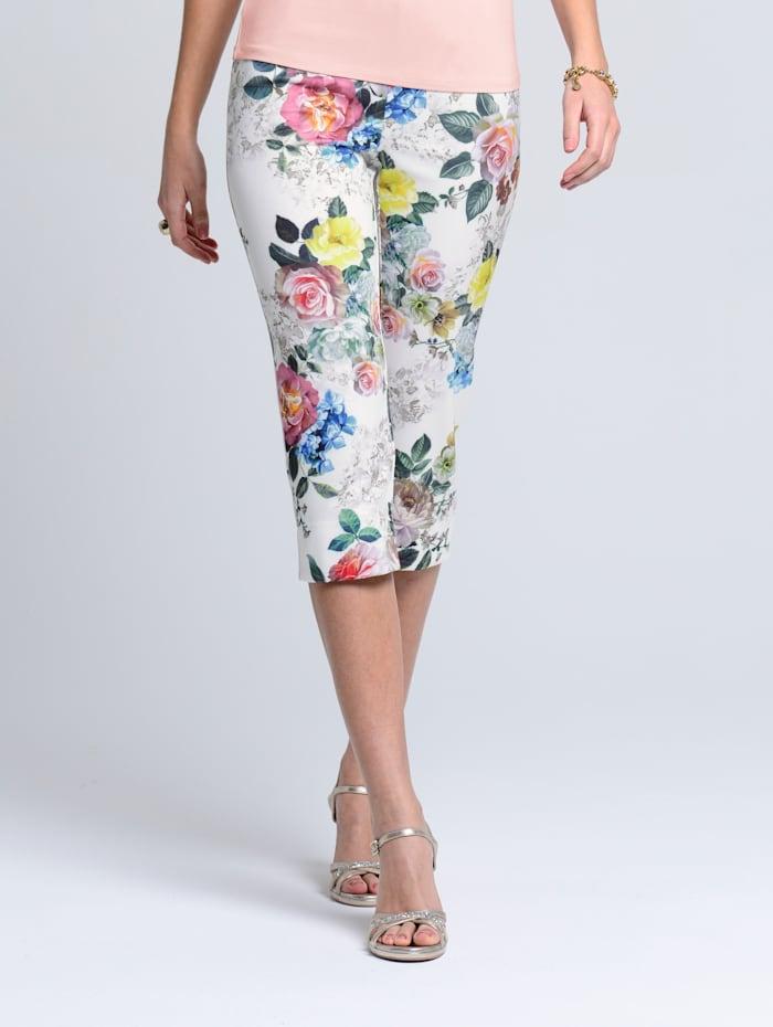 Alba Moda Capribroek met zomerse print, Wit/Groen/Rood/Geel