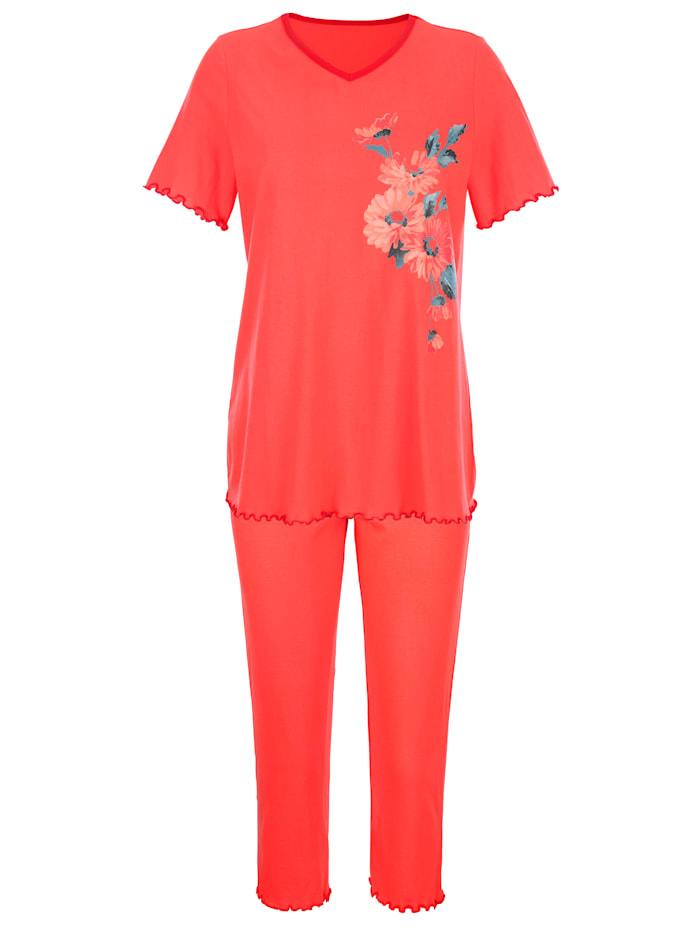 Pyjama's per 2 stuks met decoratieve contrastpaspels