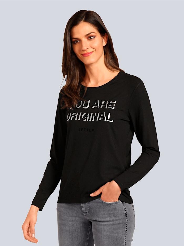 JETTE JOOP Langarmshirt mit Schriftzug, Schwarz