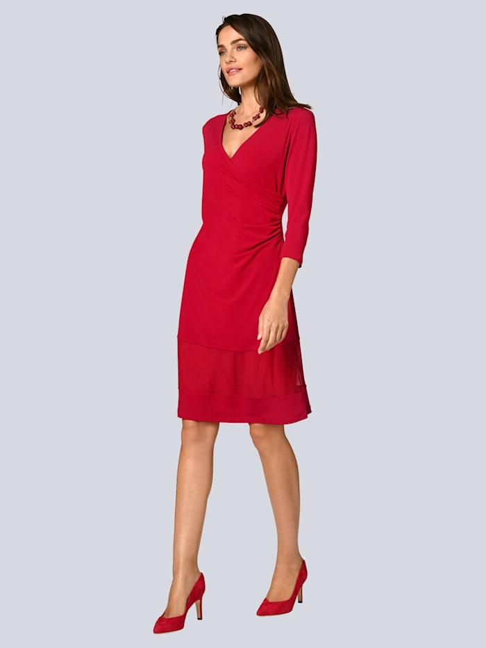 Alba Moda Kleid mit einer transparenten Bahn am Saum, Rot