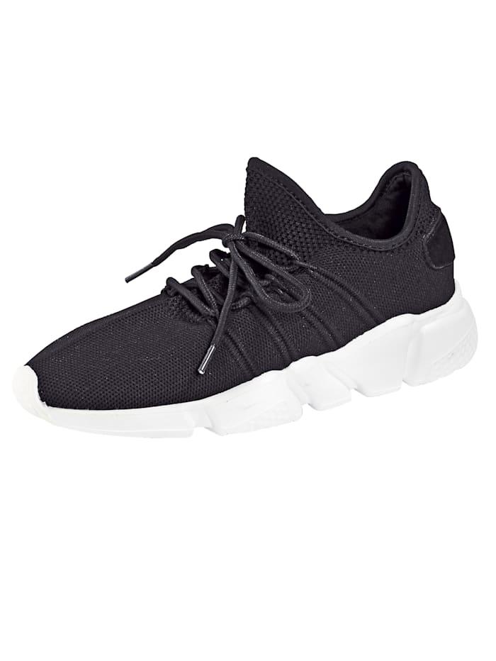 Priority Sneaker in leichter Strick-Optik, Schwarz