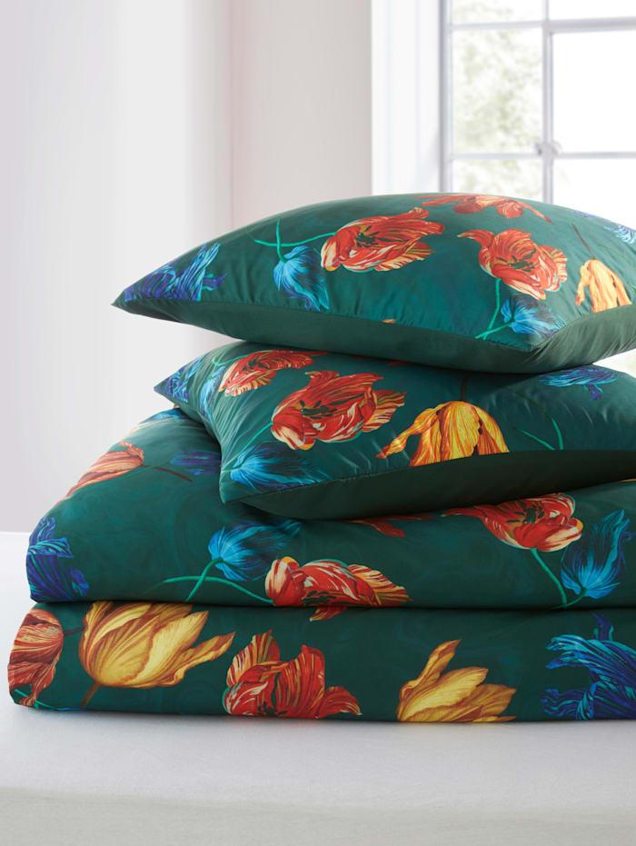 Webschatz 2-d. saténová posteľná bielizeň Judith, zelená/terra