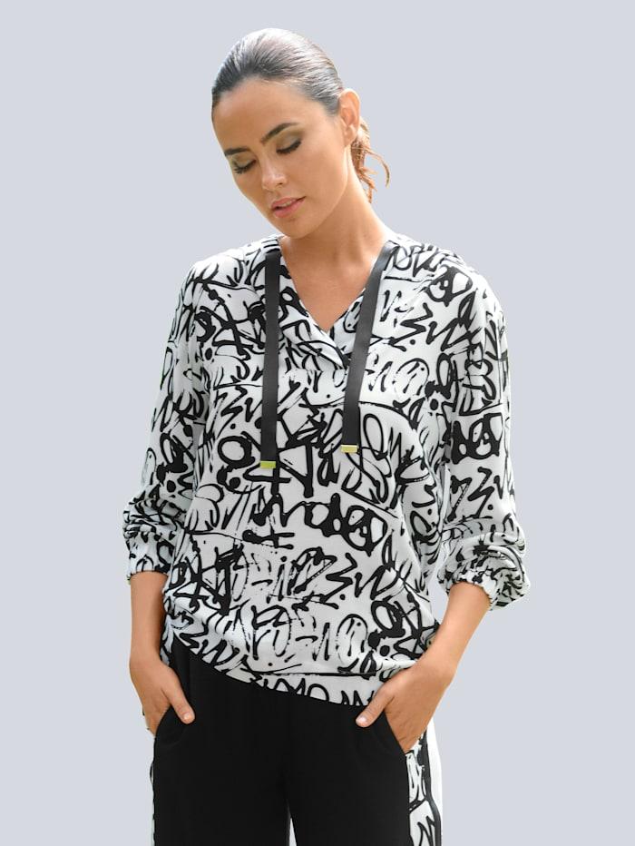 Alba Moda Strandshirt im Graffitti-Dessin, Weiß