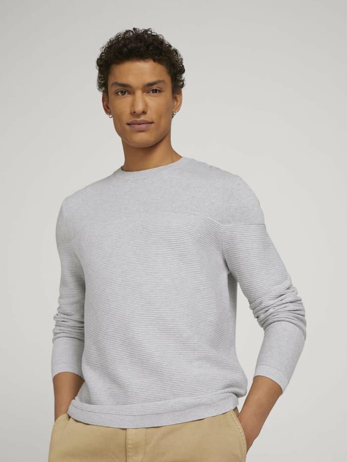Tom Tailor Denim Pullover aus Bio-Baumwolle, Light Stone Grey Melange