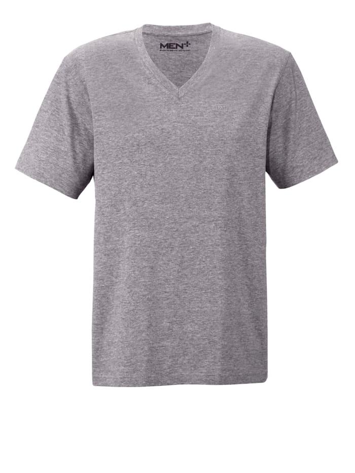 Men Plus V-Shirt aus reiner Baumwolle, Grau
