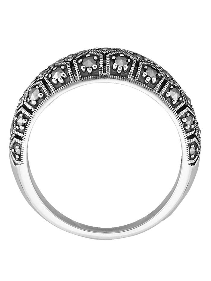 Naisten sormus osittain mustattua 925-hopeaa