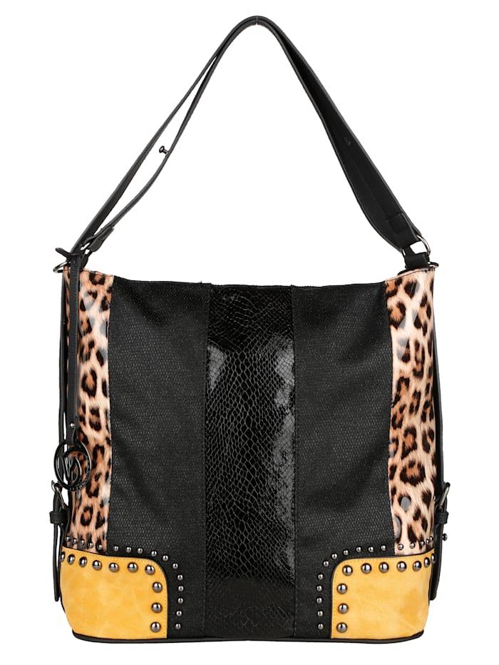 Remonte Shoppingveske med leopard- og reptilmønster med glans, svart/sennepsgul