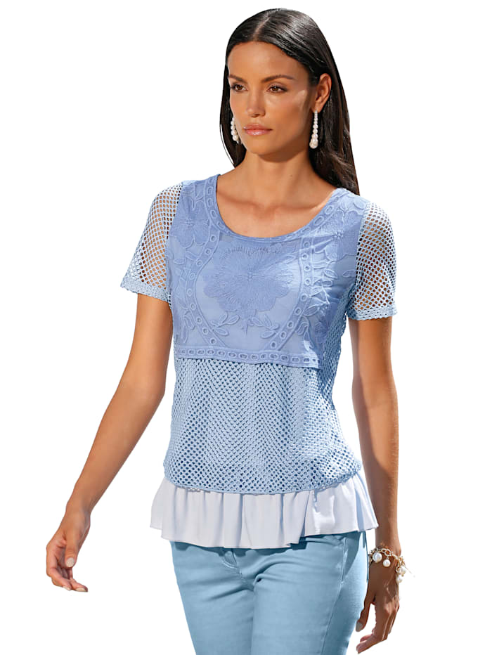 AMY VERMONT Shirt met borduursel voor, Lichtblauw
