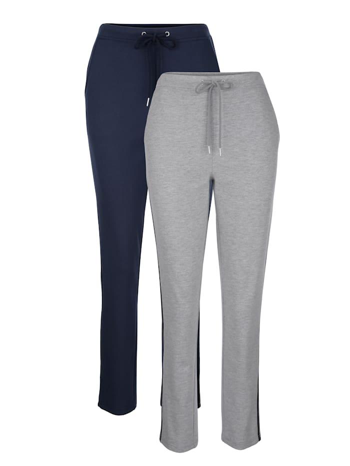 Blue Moon Lot de 2 pantalons de loisirs avec galon Lurex tendance, Marine/Gris