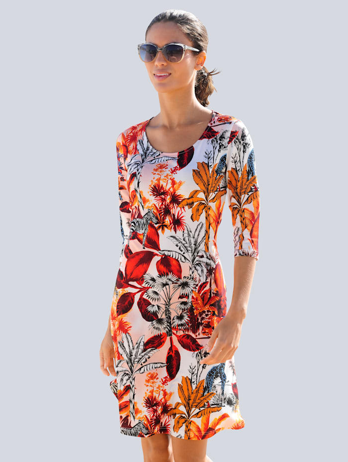 Alba Moda Strandkleid mit Dschungelprint, Weiß/Orange