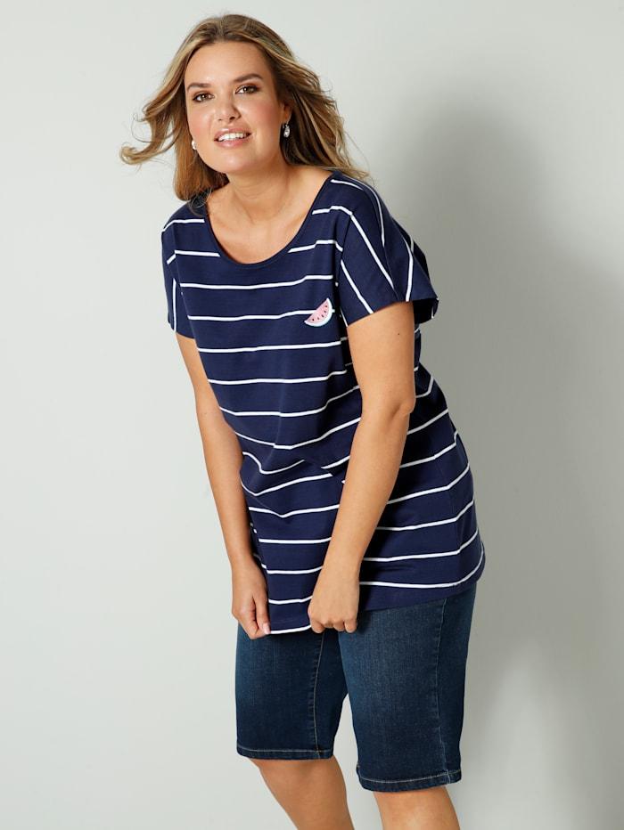 Janet & Joyce Shirt mit Melonen-Stickerei, Marineblau/Weiß