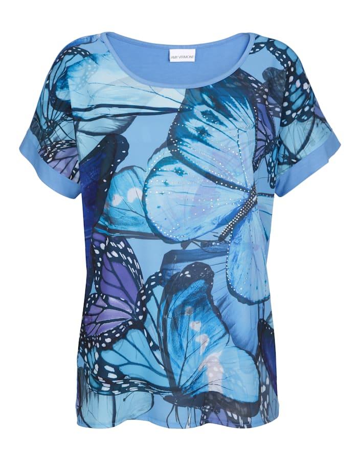 Shirt mit Schmetterlingsdruck und Steinchendeko