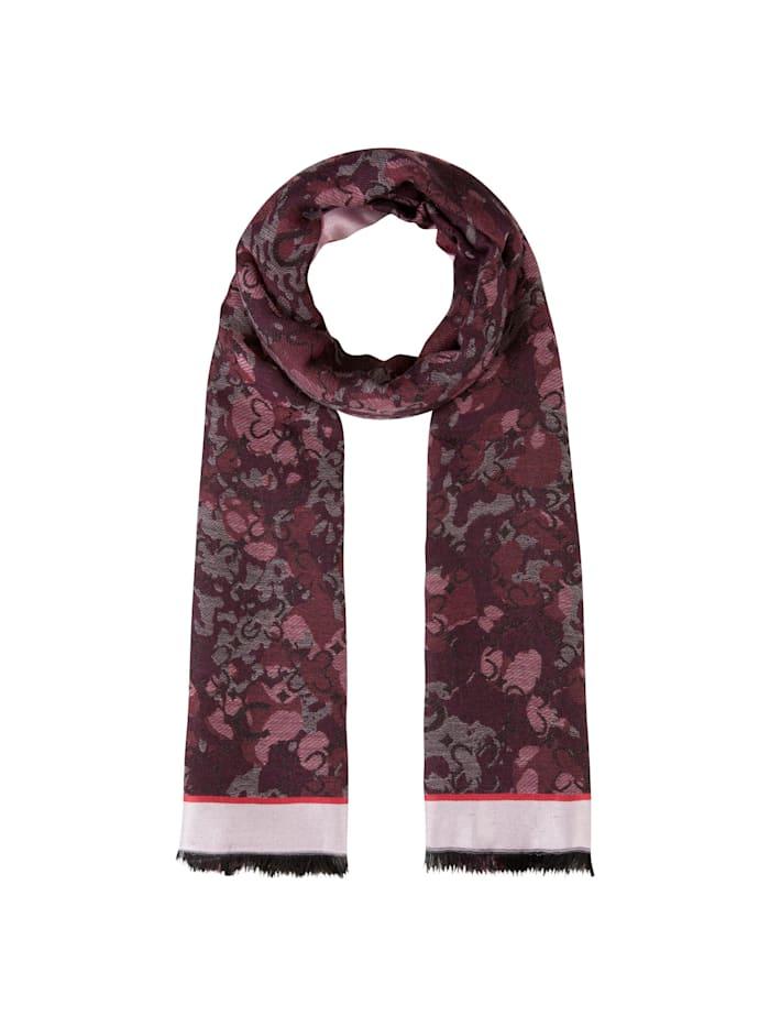 Codello Mustermix-Schal aus Baumwolle mit Wolle und Modal, dark rose