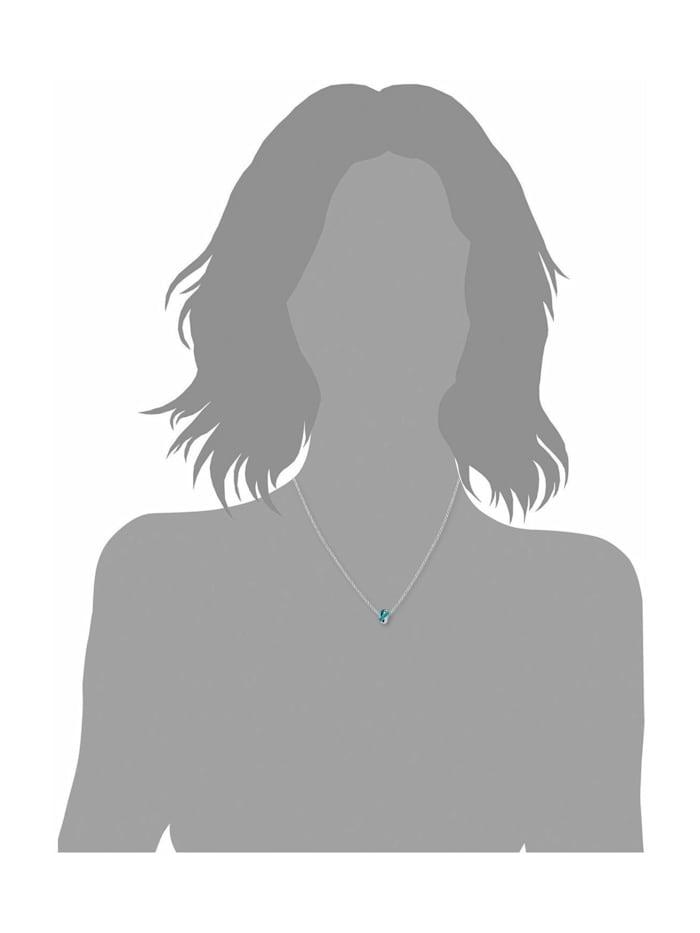 Kette mit Anhänger für Damen 45 cm aus 925 Sterling Silber rhodiniert veredelt mit Kristallen