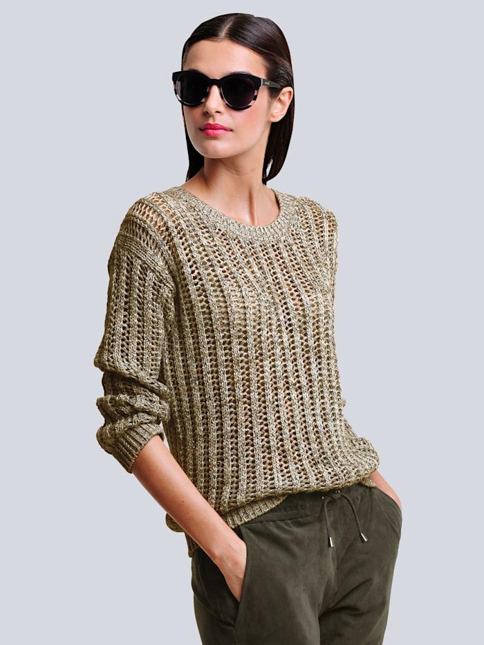 Alba Moda Pulovr s atraktivnímažurovým vzorem, Karamelová/Khaki/Přírodní bílá