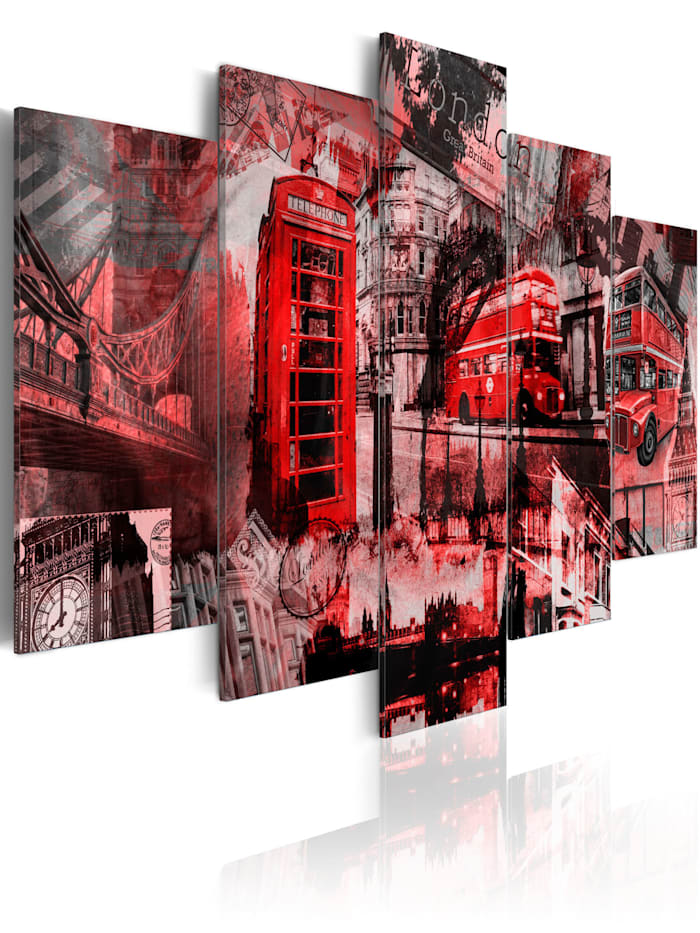 artgeist Wandbild Londoner Collage - 5 Teile, Rot,Grau