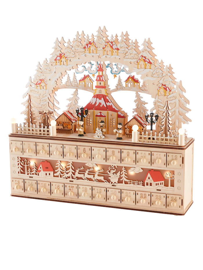 Adventskalender med LED-belysning, Brun