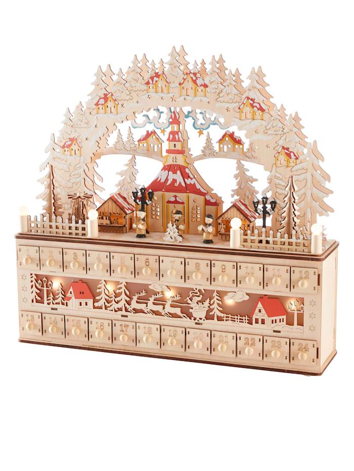 LED adventní kalendář s LED, Hnědá