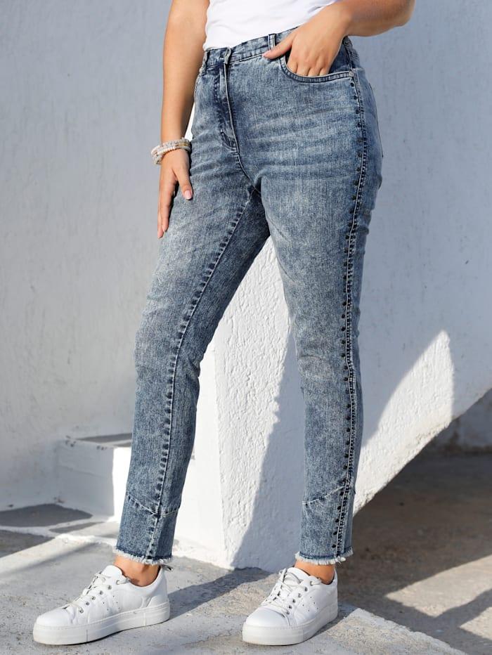 MIAMODA Jeans mit Fransen am Saum, Blue stone