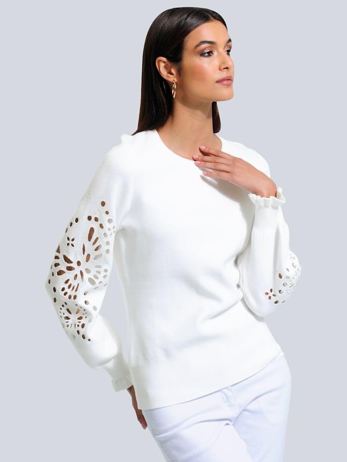 Alba Moda Pullover mit filigraner Lochstickerei, Off-white