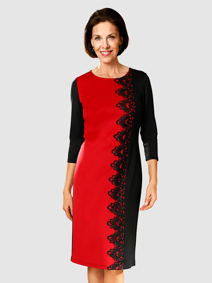 Jerseyklänning med spets fram, Svart