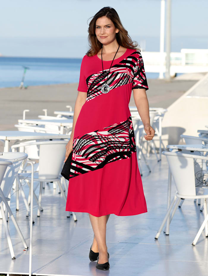 m. collection Jersey jurk met gedessineerde inzetten, Berry/Zwart/Wit