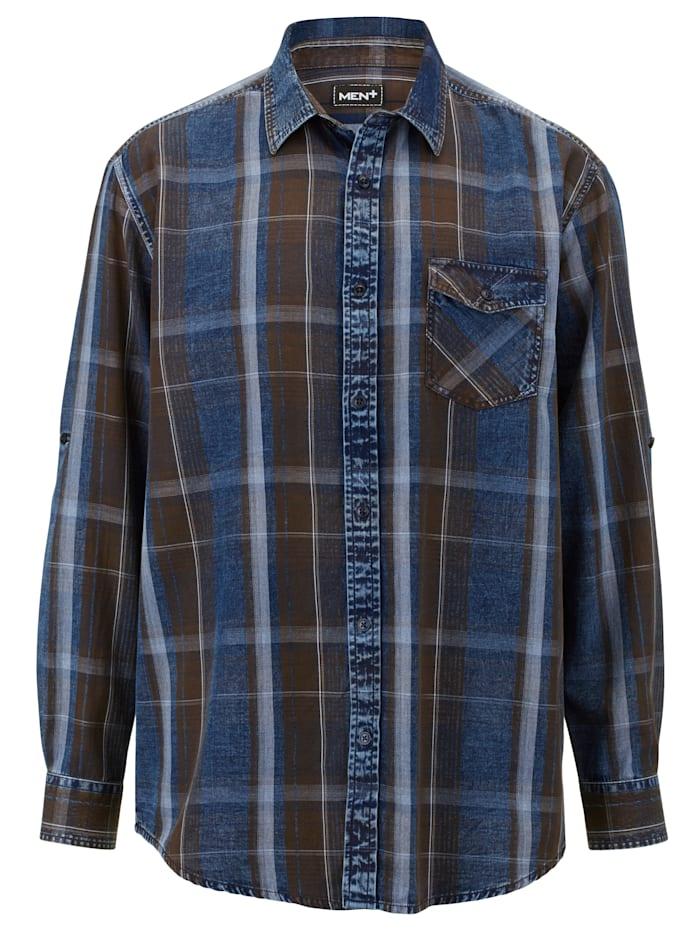 Men Plus Hemd aus reiner Baumwolle, Blau/Dunkelbraun