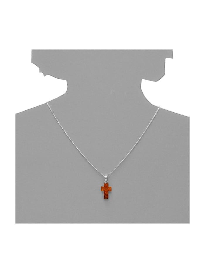 Kette mit Anhänger - Kreuz 28 x 16 mm - Silber 925/000 - Bernstein
