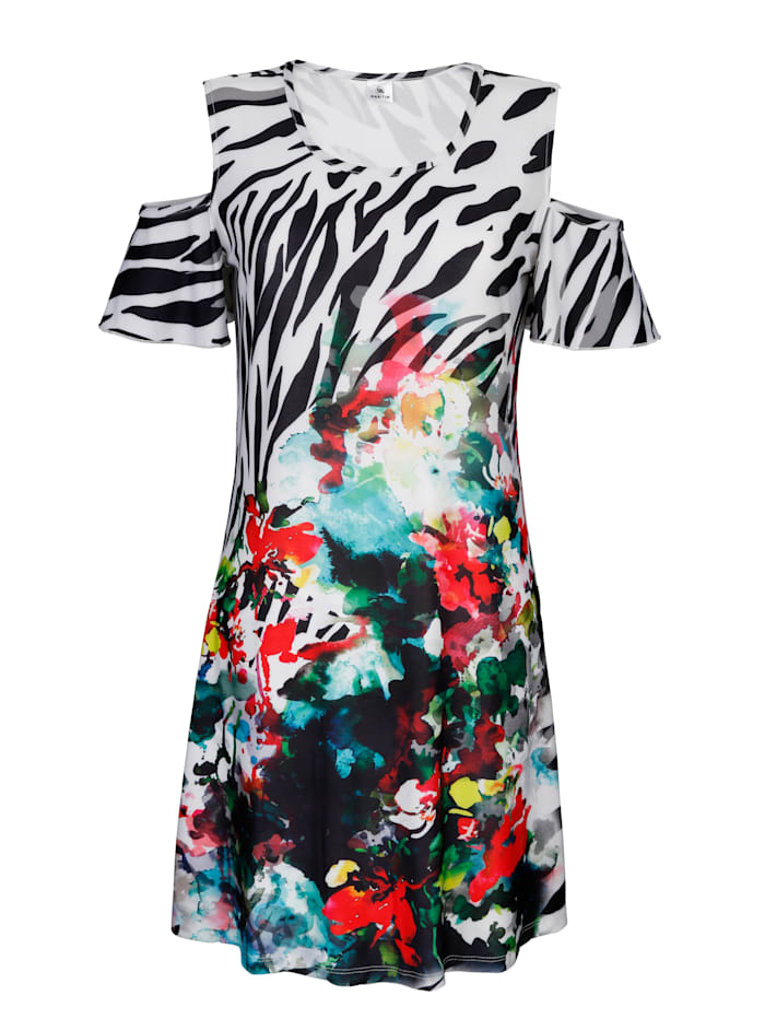 Maritim Strandkleid im Off-Shoulder Look, schwarz/weiß/rot